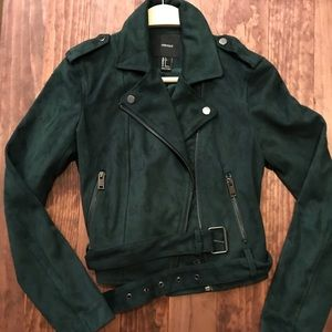 Dark green faux suede motorcycle leather jacket